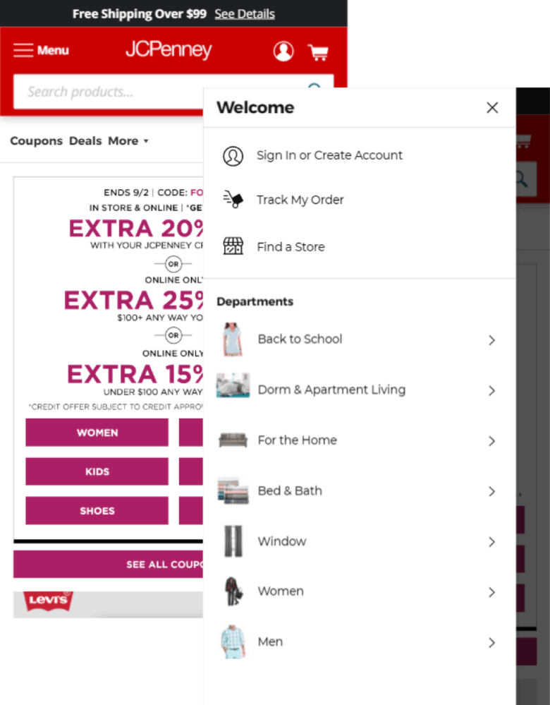 JCPenney's expanded hamburger menu