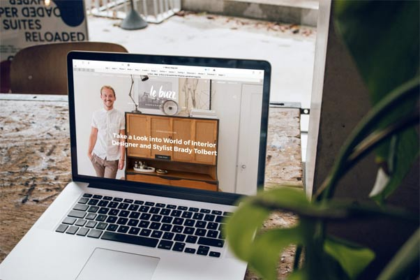 Website on a laptop