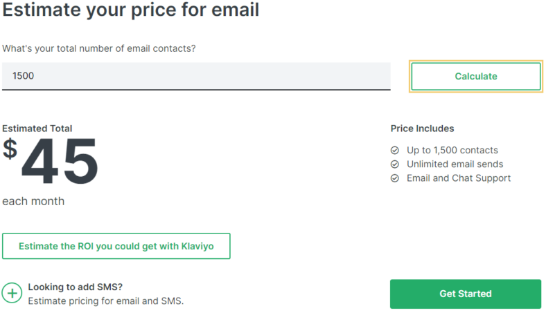 Klaviyo pricing calculation of $45 a month for 1,500 contact
