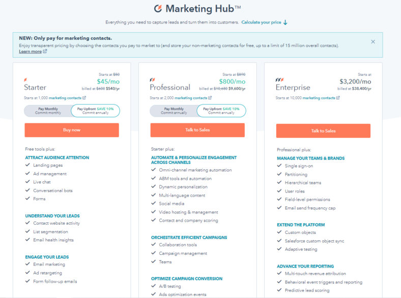 """Hubspot pricing packages, starting at $45/mo for the """"starter"""" services."""