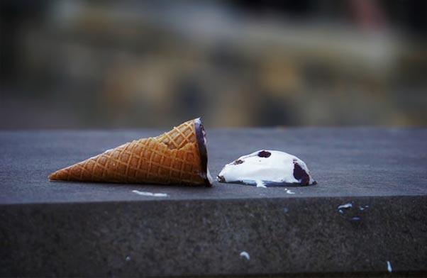 Ice cream on floor